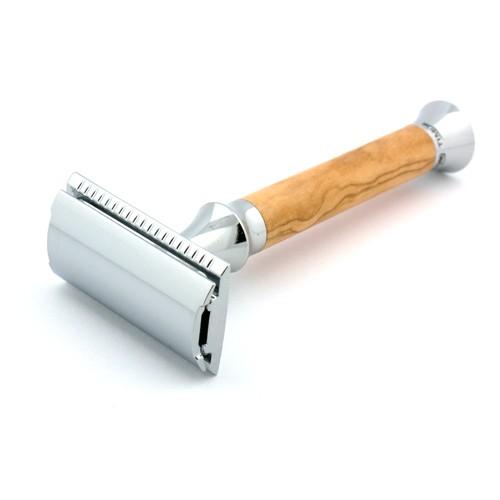 Timor olive wood chrome safety razor 1360