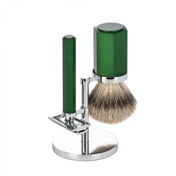 Muhle Hexagon 3PC traditional shaving set silver tip forest
