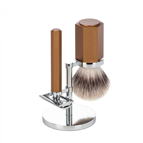 MÜHLE Hexagon 3PC traditional shaving Set Bronze silver tip fiber