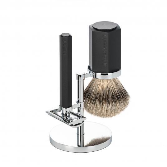MÜHLE graphite shaving set silver tip