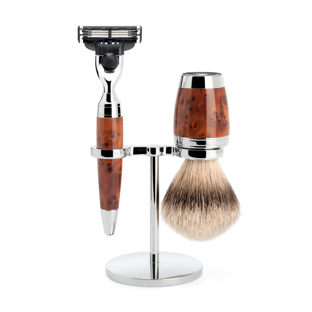 MUHLE Stylo traditional shaving Thuja Wood 3 blades