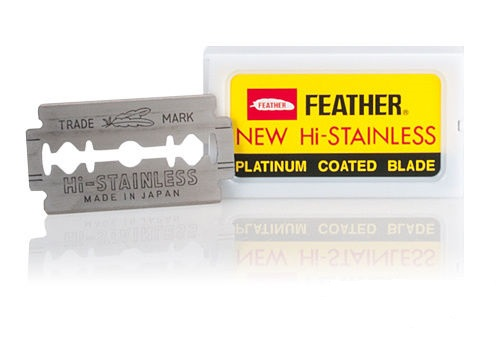Feather New Hi Stainless Double Edged traditional shaving blades 10 pack